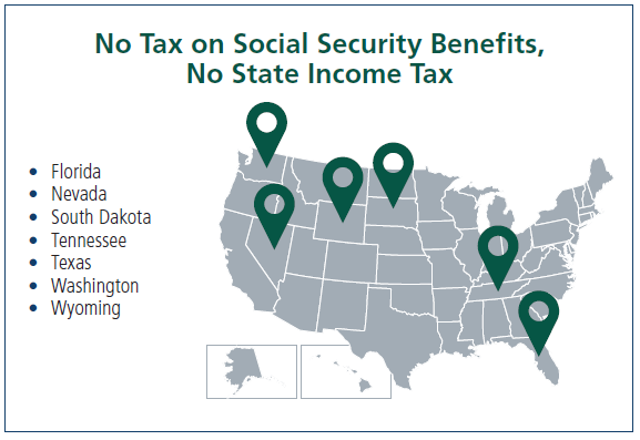 Map shows states that do not tax social security benefits and have no state income tax