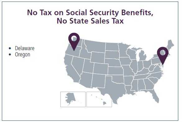 Map shows states that do not tax social security benefits and no state sales tax