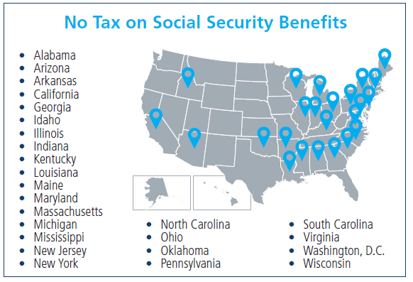 A map shows the states that do not tax social security benefits